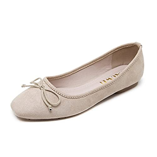 Aisun Womens Cute Comfortable Square Toe Low Cut Dress Slip On Flats Driving Shoes with Bows