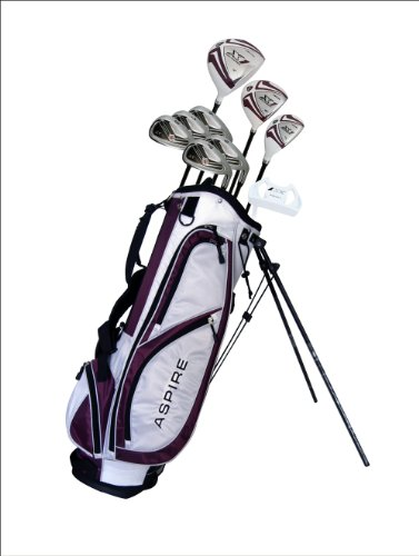 "Aspire X1 Ladies Womens Complete Right Handed Golf Clubs Set Includes Titanium Driver, S.S. Fairway, S.S. Hybrid, S.S. 6-PW Irons, Putter, Stand Bag, 3 H/C's Purple Petite Size for Ladies 5'3"" and Below!"