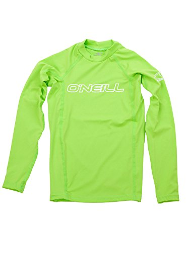 4 Girls Fitted T-shirt (O'Neill Wetsuits UV Sun Protection Youth Basic Skins Long Sleeve Crew Sun Shirt Rash Guard, Lime, 4)