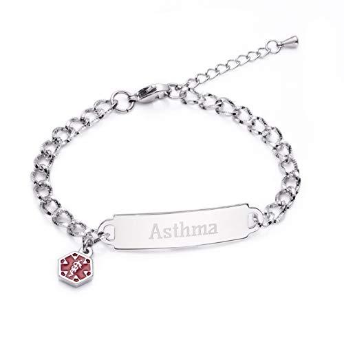 linnalove Shining Diamond Cutting Medical Alert id Bracelet for Women & Girls