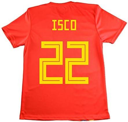 LICECIA DE LA REAL FEDERACION DE FUTBOL ESPAÑOLA Camiseta ISCO Infantil España. Producto Oficial Licenciado Mundial Rusia 2018. (Rojo, Talla 8): Amazon.es: Deportes y aire libre