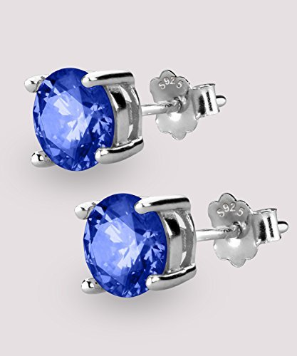 UHIBROS Sterling Silver Ear Stubs Birthstone Stud Earrings Round Cubic Zirconia Diamond September Earring