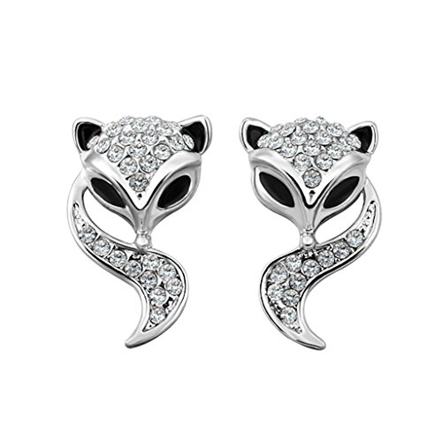 Rose Gold Platinum Plated Stud AAA Zirconia Fox Earrings L437 (white-gold-plated-brass)