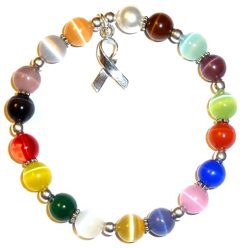 Hidden Hollow Beads Cancer Awareness Bracelet, .925 Sterling Silver, Great For Fundraising, Strong Stretchy Cord Fits All., (Prostate Cancer Symbol)