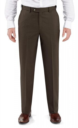 Winthrop & Church Men's Flat Front Poly Wool Trouser LONG (French Fly Wool Trousers)