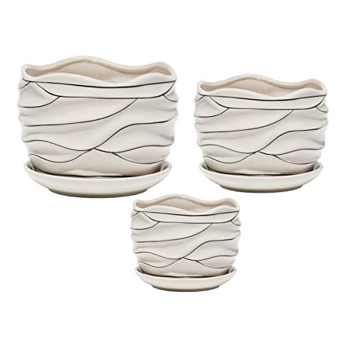 (White Ceramic Flower Plant Pots Indoor Garden Plants Containers with Saucers, Set of)