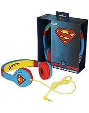 """OTL Technologies JUNIOR Barnhörlurar Superman""""Man of Steel"""" (vadderad bygel, volymgräns till 85 dB, färgglad DC design, för pojkar och flickor) blå/röd"""