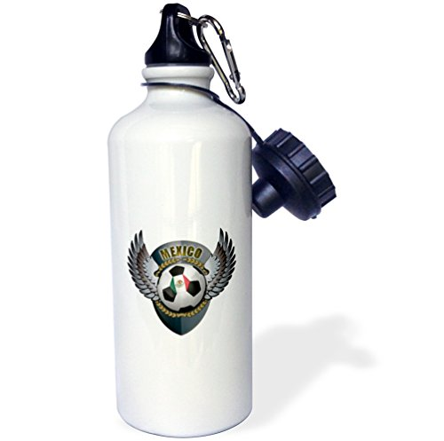 3dRose wb_158041_1 Mexico Soccer Ball with Crest Team Football Mexican Sports Water Bottle, 21 oz, White by 3dRose