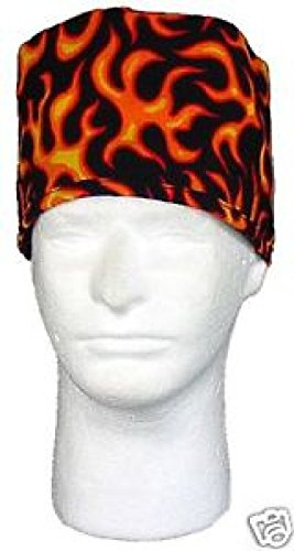 Large Orange Flames Sweatband Scrub Cap Medical Dental Doctor Vet Nurse by ZIZI SPORTS SUPPLY