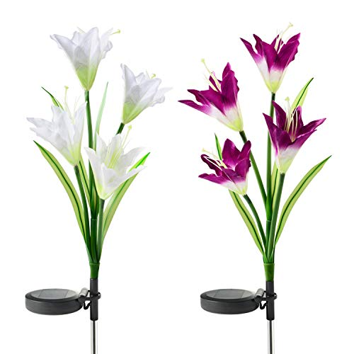 Flower Yard Decor - UPSTONE Outdoor Solar Garden Lights LED Solar Garden Decorations Lights Outdoor Path Light, In-Ground Lights, Outdoor Yard Decor Flowers for Patio Backyard Gardening Gifts (2 Packs Purple and White)
