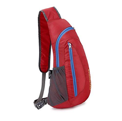 Lily's Locker - Hombre y señora Casual Sports Crossbody Bolsos Sling / Bolsa de Pecho para Travling, Senderismo, Acampar o Día a Día el Uso (Azul) Rojo