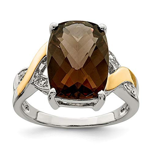 - 925 Sterling Silver 14k Smoky Quartz Diamond Band Ring Size 6.00 Stone Gemstone Fine Jewelry Gifts For Women For Her