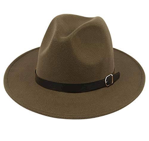 b7df4117ff Lanzom Women Men Retro Style Wide Brim Panama Hat Belt Buckle Wool Fedora  Hat (Army Green, One Size)