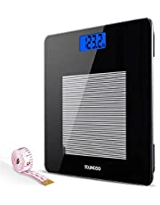 Bathroom Scales,YOUNGDO Digital Body Weight Scale,High Precision Weighing Scales with Tempered Glass 28st/180kg/400lb,Body Measuring Tape Included,Backlight Display