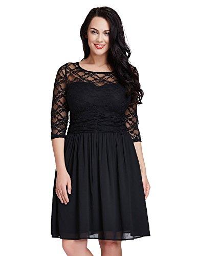 LookbookStore Womens Plus Size Lace Top Chiffon Skirt A-line Skater Formal Dress 20W,Black