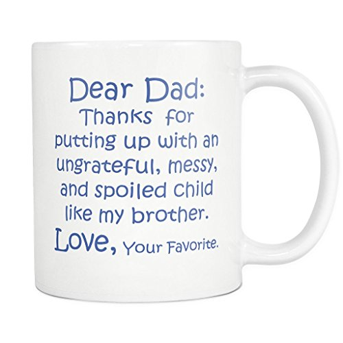 [ArtsyMod DEAR DAD THANK YOU Premium Coffee Mug, PERFECT FUNNY GIFT for Your Father! Attractive Durable White Ceramic Mug (11oz., Blue] (Father Son Star Wars Costumes)