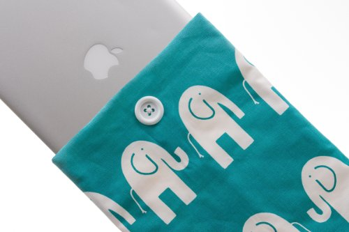 Kuzy - #39 Elephant Aqua/White Handmade Cotton Sleeve Cover 13-Inch for MacBook PRO 13-Inch (fits MacBook with or w/Out Retina Display) and MacBook Air 13-Inch and White MacBook ()