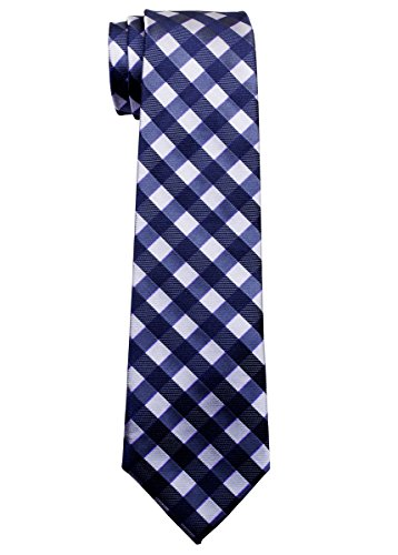 Retreez Classic Check Woven Microfiber Boy's Tie (8-10 years) - Navy Blue and Grey Check