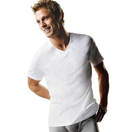( Hanes Men's Classic V-Neck T-Shirt 100% Cotton 6 Packs - White-6pack 2X-Large)