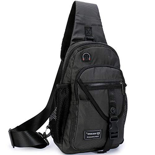 Sling Bags, Chest Shoulder Backpack Crossbody Bag One Strap Daypacks Fit 11.6-Inch Laptops iPad Outdoor Travel for Men Women (Black-(Fits 11.6-Inch Laptops)) (Sling Ipad Tablet Backpack)
