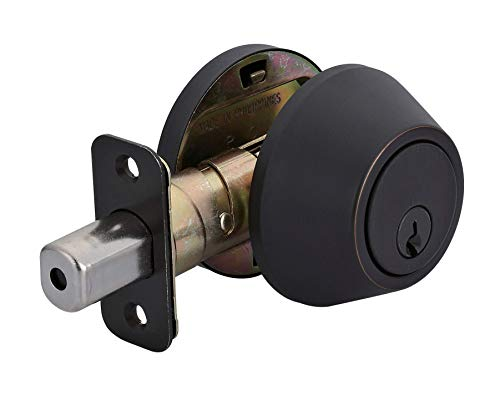 AmazonBasics Deadbolt - Single Cylinder - Oil Rubbed Bronze