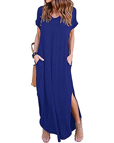 (Women's Long Loose Maxi Dress V-Neck Casual Side Split Dresses with Pockets (M, Royal Blue-Backless))