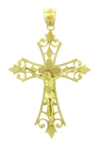 10 ct 471/1000 Or Jaune Crucifix - La Agape Crucifix Pendentif