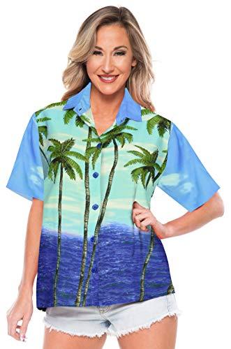 HAPPY BAY Womens Hawaiian Shirt Beach Aloha Swim Shirt for Women 3D Printed