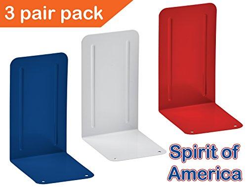 Acrimet Spirit of America Premium Metal Bookends (Heavy Duty) (3 Pairs Pack) (Deep -