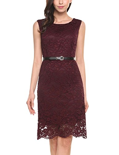 ANGVNS Sleeveless Hollow Floral Cocktail