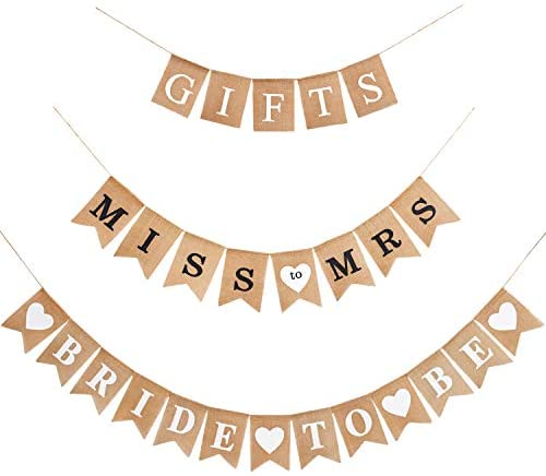 3 Pieces Bridal Shower Banner Garland Decoration Bride to Be Banner Gifts Banner Rustic Burlap Bunting Banner for Bridal Shower Bachelorette Party Decoration