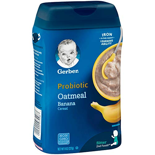 417bWlR9lLL - Gerber Baby Cereal Probiotic Oatmeal & Banana Baby Cereal 8 Ounces (Pack Of 6)