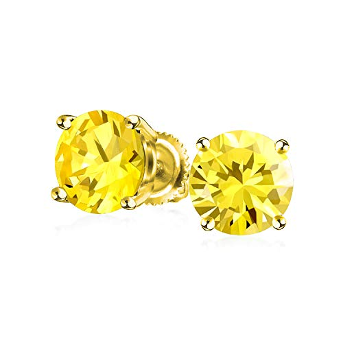 1CT Solitaire Round Canary Yellow CZ Stud Earrings For Women 14K Gold Plated 925 Sterling Silver Screw Back
