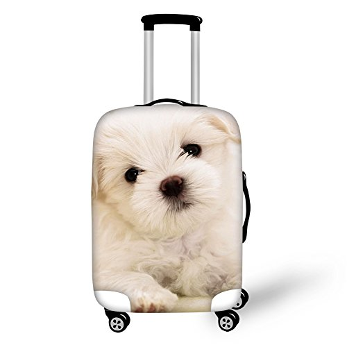HUGS IDEA Cute Travel Luggage Cover Dog Printed Elastice Spandex Suitcase Protector Fits 26-30 Inch