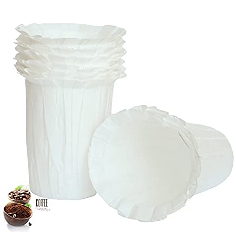 BELR Disposable Filters Paper K Carafe Filter Cups K Carafe Compatible Paper-(100 Filters) (White)