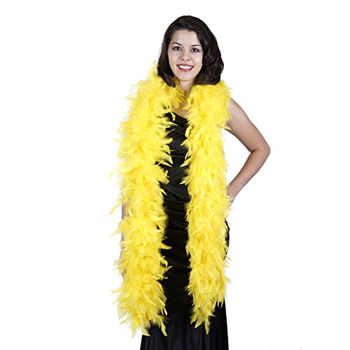 ZUCKER Heavy Weight Chandelle Feather boa Solid Colors - Yellow ()