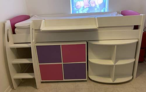 Stompa - Cama para ninos de 1 S Plus con cabecero Blanco, Escritorio extraible y Unidad de Cubo de 4 Puertas, Color Blanco y Rosa