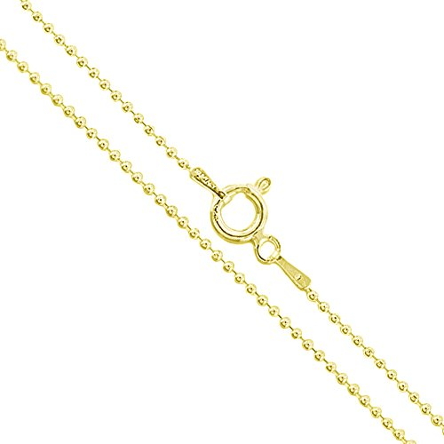(22k Yellow Gold Plated Sterling Silver Italian Ball Bead Chain 1.2mm 925 Italy New Dog Tag Necklace 18