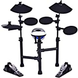 Costzon Electronic Drum Set with 7.5'' Snare, 7.5'' Toms, 10'' Cymbal, Drum Sticks, Black