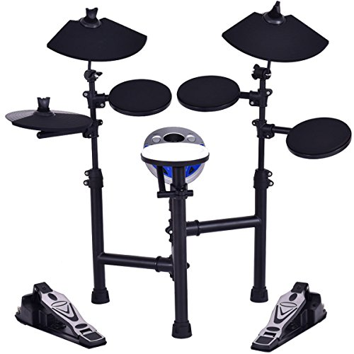 Costzon Electronic Drum Set with 7.5″ Snare, 7.5″ Toms, 10″ Cymbal, Drum Sticks, Black