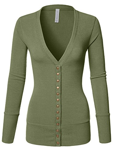 - Luna Flower Women's V-Neck Snap Button Long Sleeve Soft Basic Knit Snap Cardigan Sweater Light_Green Small (GCDW027)