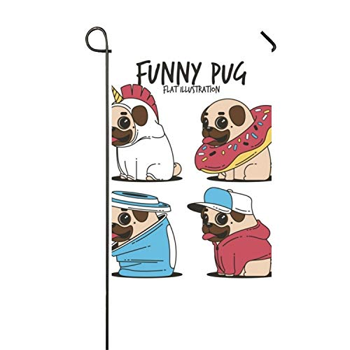 AIERYO Fun Set of Pugs with Costumes Polyester Decorative Flag Balcony Novelty]()