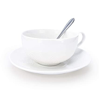 Porcelain Tea Cup with Saucer and Stainless steel Spoon, Ceramic Coffee Mug  and Saucer-