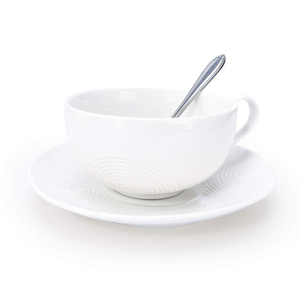 Porcelain Tea Cup with Saucer and Stainless steel Spoon, Ceramic Coffee Mug and Saucer- Perfect for Espresso,Cappuccino,Latte - Pottery Demitasse Mugs Plate for Home Office. White, 7.8 OZ (230 ML)