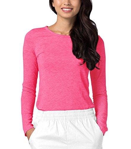 Adar Womens Comfort Long Sleeve T-Shirt Underscrub Tee - 2900 - Heather Fuchsia - S