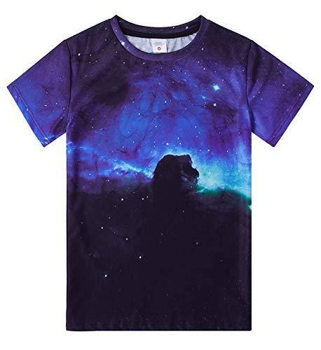 Funnycokid Galaxy Shirt Kids Boys Girls Short Sleeve