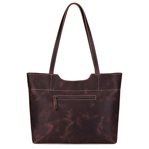 ac040a2ec9 S-ZONE Vintage Genuine Crazy Horse Leather Tote Shoulder Bag Purse with  Back Zipper Pocket