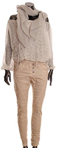 Basic.de - Pantalón - para mujer Beige-Stonewash XL