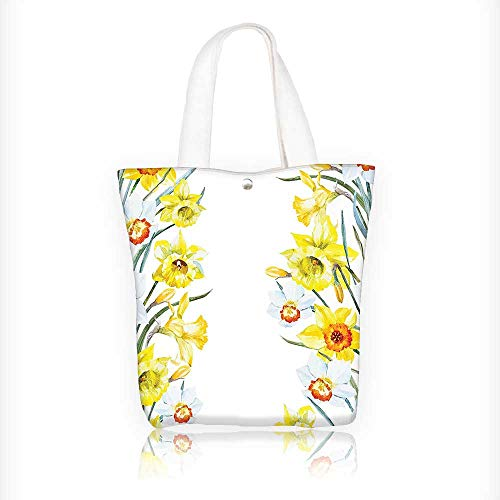 Canvas Tote Bag Spring Flowers Composition Meditation For Blossoming Results Natural Wonder Print Yellow White Red Hanbag Women Shoulder Bag Fashion Tote Bag W16.5xH14xD7 INCH by Muyindo