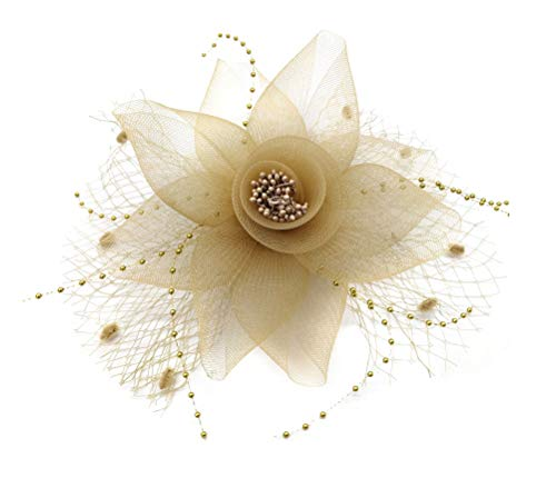 Flywife Fascinator Hats for Women Tea Party Headband Flower Veil Clip Derby Cocktail (C Gold) ()